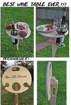 baltic This handcrafted collapsible wine table is a must have for all wine lovers. It is designed to hold all the elements of the classic picnic - bottle of wine, two glasses and a plate of yo Woodworking Projects Diy, Wood Projects, Router Woodworking, Garden Projects, Woodworking Shop, Outdoor Folding Table, Plywood Table, Wine Table, Make A Table