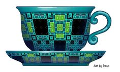 artbyjean blog cup and saucer | ... lime and turquoise - Set of Mix and Match prints with cup and saucer