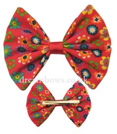 Large red funky floral design fabric hair bow on alligator clip - www.dreambows.co.uk