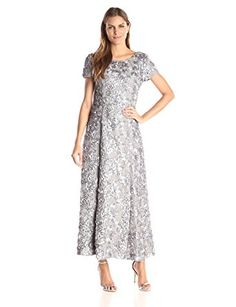 6552209c4c Alex Evenings Women s Long A-Line Rosette Dress with Short Sleeves and  Sequin Detail at Amazon Women s Clothing store