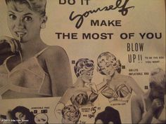 bras from an old 50's catalog--ha-ha, a blow-up bra