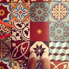 Floor tiles in a Lebanese restaurant in Liverpool, UK
