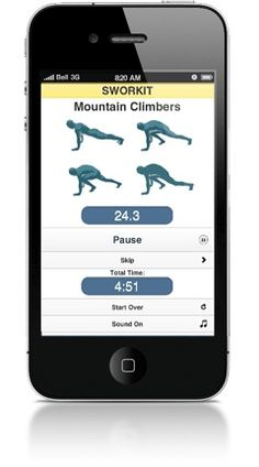 Sworkit ~What is Sworkit?  Sworkit works on a computer, iPhone or Android and functions kind of like an iPod shuffle for exercise. You choose your workout time (up to one hour) and goal (back, core strength, full body, etc.). Sworkit then generates a series of randomized 30-second routines (none of which require equipment) for you to follow, along with handy pictures of what each task actually looks like. At the end of every 30 seconds, a whistle blows and youre on to the next exercise.