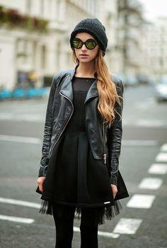 LBD with a leather jacket Black Parade, Look Fashion, Womens Fashion, Fashion Trends, Fashion Clothes, Street Fashion, Alternative Rock, Looks Street Style, Winter Stil
