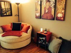 Create a Meditation Space in Your Home - Left Brain Buddha Meditation Room Decor, Meditation Benefits, Boho Bedroom Diy, Trendy Bedroom, Purple Bedrooms, Small Bedroom Furniture, Zen Space, Prayer Room, Haus