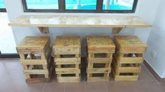 Pallet Wall Hanging Desk with Stools