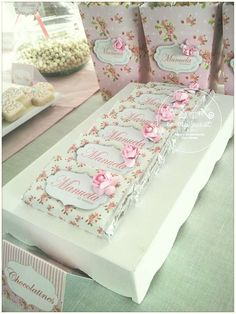 Candy bars at a romantic shabby chic baptism birthday party! See more party ideas at CatchMyParty.com!
