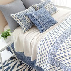 Pine Cone Hill Annette Blue Quilt Featuring an elaborate, Indian-inspired pattern of paisleys, flowers, and vines in a stunning ink-blue hue, this cotton quilt looks incredible on its own or juxtaposed against neutrals and bright bedding coordinates. Blue Bedroom, Trendy Bedroom, Master Bedroom, Indigo Bedroom, Blue And White Bedding, Bright Bedding, Bed Comforter Sets, Bed Linen Design, Blue Quilts
