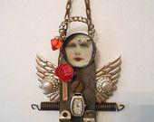 Vintage Tool Art, Hardware Art, Junk Art, Fleamarket Art, junkart, Art Doll, Artdoll, Pliars, vintage jewelry, vintage lace, rhinestones. $45.00, via Etsy.