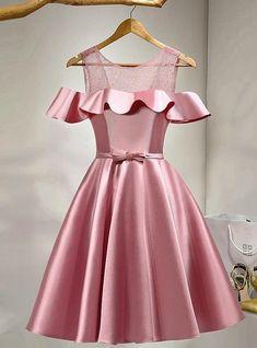 Stunning pink prom dress short satin party dress