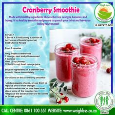 Smoothie Drinks, Healthy Smoothies, Smoothie Recipes, Drink Recipes, Cranberry Smoothie, Homemade Banana Bread, Healthy Eating Recipes, Berries, Alcohol