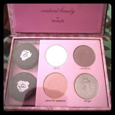 Benefit Make Up Palette. Includes 4 eye shadows(silver used a little), & 2 eyeliner pots. Tips and Tricks included!  In Excellent, Barely Used Condition! Benefit Makeup Eyeshadow