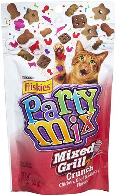 Friskies Party Mix - Chicken, Beef and Salmon - Mixed Grill Crunch - 2.1 oz (Pack of 2) * Want additional info? Click on the image. (This is an affiliate link and I receive a commission for the sales)