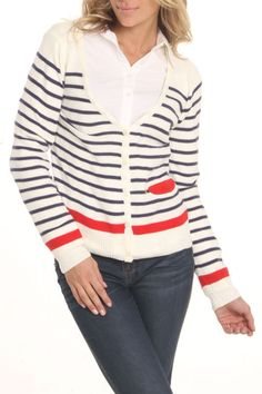Tommy Girl V-Neck Sweater In Pristine, Patriot & Chinese Red