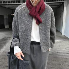 "1,386 Likes, 3 Comments - OAK + FORT (@oakandfort) on Instagram: ""Polished gray. #BeOakandFort Scarf H059 Jacket H177 Bag H024 Tshirt 2249 Shop the Look | Link in Bio"""