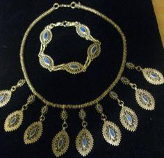 Vintage Exotic Afghani Silver Lapis Lazuli Necklace Bracelet Set