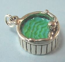 Sterling Silver Enamel Spa, Hot Tub & the Hunk is in Hot Water Charm