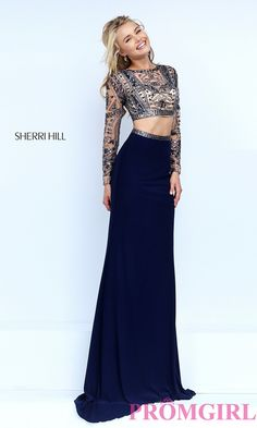 Two Piece Beaded Crop Top Dress by Sherri Hill -  long sleeve beaded top floor length dress Style: SH-50097 Front Image