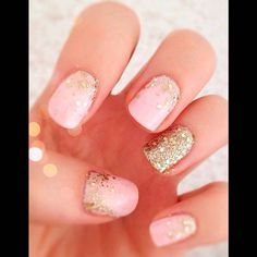 Stunning Glitter Nail Designs Glitter nail art designs have become a constant favorite. Almost every girl loves glitter on their nails. Glitter nail designs can give that extra edge to your nails and brighten up the move and se… Pink Wedding Nails, Gold Glitter Wedding, Wedding Manicure, Gold Glitter Nails, Purple Glitter, Pink Bling, Bling Nails, Golden Glitter, Glitter Makeup