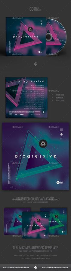 CD / DVD album cover artwork template for DJs and producers of electronic music, podcast image artwork for different genres of electronic music.