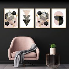 A stunning set of 4 downloadable geometric prints in blush pink, grey and black with gold accents. #blushpink #pinkblackgold #printableart #setof4 #geometricprints #pinkgreybedroom #pinkbedroomideas #urbanepiphany