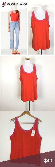 """TORY BURCH Lawrence Pima Tank Top The color is called Poppy Red, but it definitely looks orange. Brand new with tags! In excellent condition. 100% Pima cotton. 26"""" long. 21"""" across the bust. Non-smoking pet free home.                                                          🔹suggested user🔹fast shipper🔹                                    🔸bundle to save 20%🔸300+ items🔸 Tory Burch Tops Tank Tops"""
