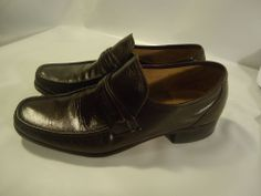VINTAGE Easy Flex Men's Shoes Brown Leather Loafers Slip on 9 1/2 D USA MADE #EasyFlex #LoafersSlipOns