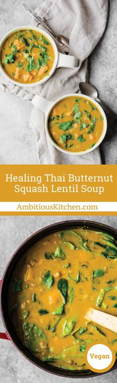 collage of butternut squash lentil soup in two mugs and in a large pot