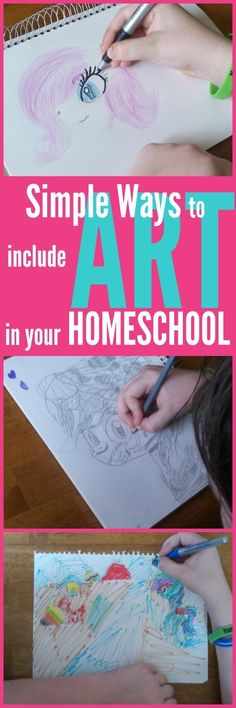 Simple Ways to Include Art in Your Homeschool {even if you don't like teaching art} A few simple ways to include art in your homeschool. These tips will help you easily add homeschool art lessons to your homeschool schedule. Projects For Kids, Art Projects, Project Ideas, Art Lessons Online, Teaching Art, Teaching Tips, Homeschool Curriculum, Homeschooling Resources, Art Plastique