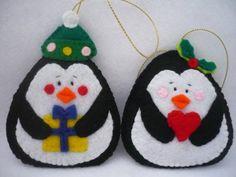 Penguin Felt Christmas Ornament Home Decor Set of 2 by ynelcas