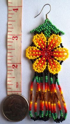 Huichol Beaded Flower earrings by Aramara on Etsy