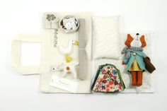 Felt fox doll and accessories.