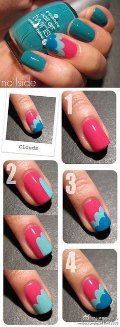 Nail art tutorial. Pink and blue