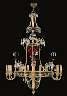Petersburg around Ruby-red glass, gilded and patinated bronze, brass and partly cut glass and crystal hangings. Fine light ring with 4 standing Cupid figures on plaque with 3 curly Licharme Ceiling Fan Chandelier, Bronze Chandelier, Antique Chandelier, Antique Lamps, Modern Chandelier, Ceiling Lamp, Crystal Chandeliers, High Ceiling Lighting, Ceiling Light Design