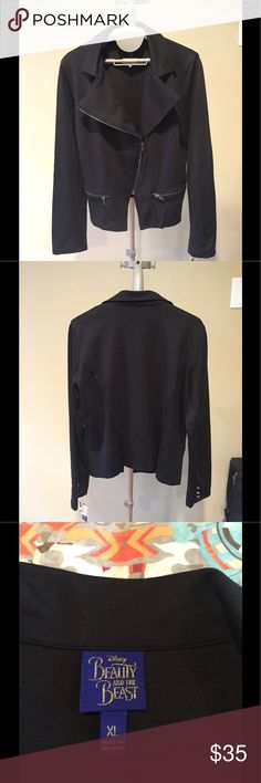 NWT Black Zip Up Stylish Jacket Super stylish and very flattering Beauty & The Beast brand black zip-up short jacket. This is a XL in Juniors, but fits like a medium women's. The cut is so cute and looks cute with jeans or with a dress. NWT's!!!! Beauty and The Beast Jackets & Coats