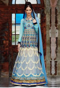 #Blue #Pure #Georgette #Chuddidar #Kameez with #Dupatta  #Blue #Pure #Georgette #kameez designed with Zari,Resham Embroidery With #Stone #Work And #Lace #Border Work.  INR: 6,140 only  With #Amazing #Discounts  Grab At http://tinyurl.com/o5xxpsj