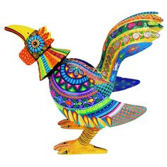 Such a colorful and uplifting rooster figure by Ivan Fuentes. This very nicely carved piece has an intricate design, perfectly painted and executed by Ivan. The hues reflect the magnificent use of color in Oaxaca, bright, harmonious, alive!