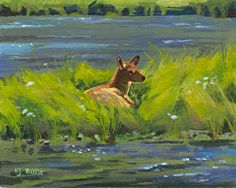"""Where ART Lives Gallery Artists Group Blog: Western Wildlife, Yellowstone Landscape Painting, """"Elk Calf Study"""" by Nancee Jean Busse, Painter of the American West"""