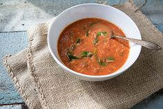 Tomato Soup with Rice and Spinach