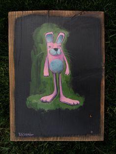 Pink Rabbit on black -By Brett Superstar