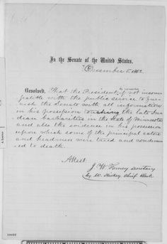 Senate, Friday, December 05, 1862 (Resolution concerning Sioux uprising in Minnesota)