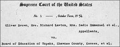 Teaching With Documents:  Documents Related to  Brown v. Board of Education
