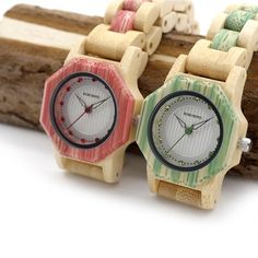 Women's Octagon Natural Bamboo Watch in Wooden Box - Green,Pink,White  wood watch womens for her ladies   style internet unique products shops fashion band awesome accessories gift ideas beautiful girls outfit boxes pictures gifts casual For sale buy online Shopping womens Websites AuhaShop.com