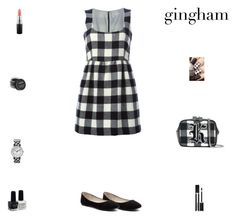 """""""Contest: Black & White Gingham Outfit"""" by billsacred ❤ liked on Polyvore featuring Verali, RED Valentino, Christopher Kane, Timex, MAC Cosmetics, Givenchy, Forever 21 and gingham"""
