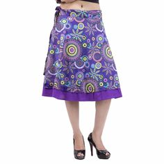 Women Rajasthani Multicolored Purple Knee Length Wrap Around Skirt IWUS Wrap Around Skirt, Salwar Kameez, Midi Skirt, Best Deals, Purple, Skirts, Shopping, Mini, Handmade