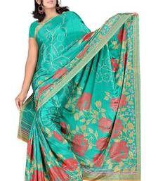 Buy Bhuwal Fashion Flower Prints Turki Silk Light Green Saree art-silk-saree online