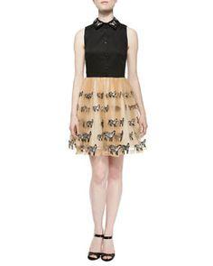 T9G23 Alice + Olivia Preena Zebra-Embroidered Combo Shirtdress