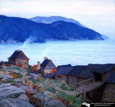 Evening on the North Shore, 1924 by Clarence Gagnon, peintre québécois. Canadian Painters, Canadian Artists, Clarence Gagnon, Art Inuit, La Rive, Oil Painting Reproductions, Illustrations, North Shore, Landscape Paintings