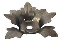 """8 PETAL 3-3//4/"""" STAMPED STEEL FLOWER HUSK BOBECHE CANDLE CUPS W//4 PRISMS HOLES."""