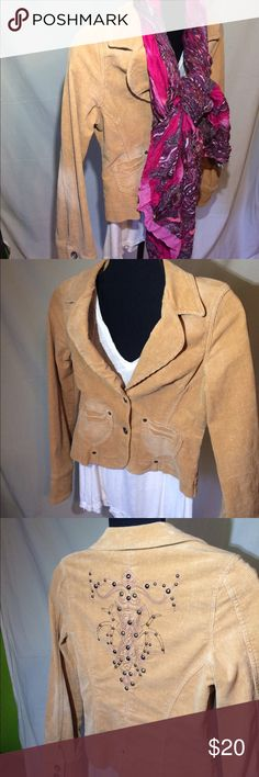 Juniors fitted corduroy jacket Absolutely adorable! Looks cute both buttoned and unbuttoned! This is a fitted jacket, double breasted. Easy to accessorize with! Looks so cute with a pair of skinnys and heels!  The design on the back is so cute and unique! Event Jackets & Coats